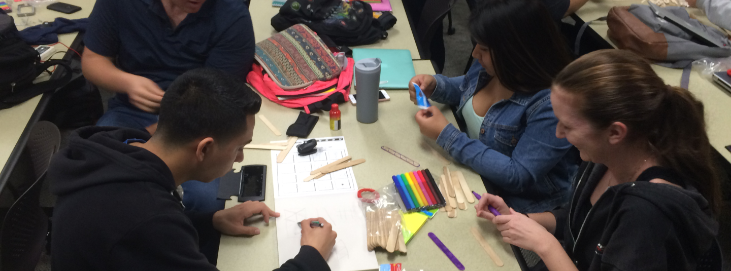 students working on projects during Open Community event